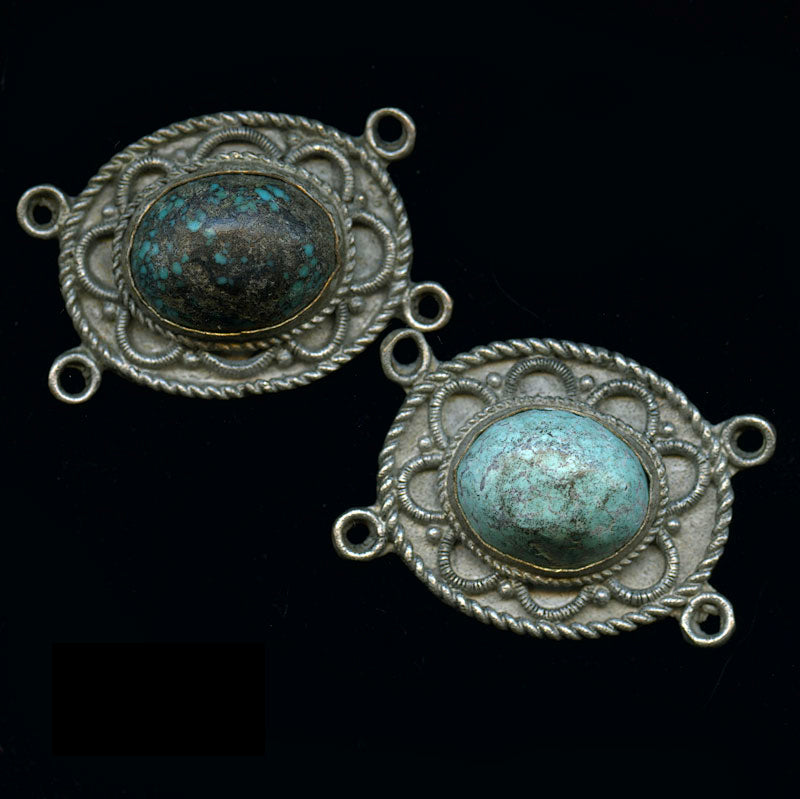 Vintage Chinese imported silver plated copper 4 ring oval pendant with large turquoise cabochon, 24x36 mm. b18-0367