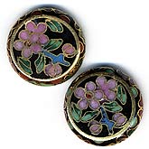 Cloisonne hollow flat coin beads, 20x5mm, sold individually. B2-365