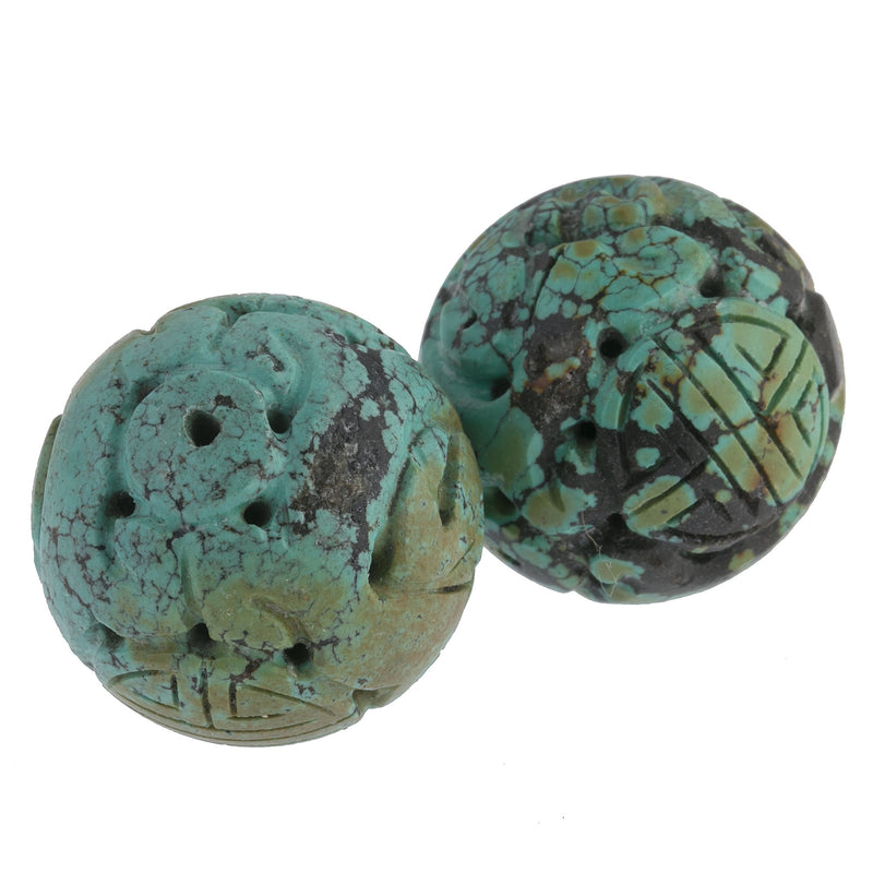 Vintage carved and pierced Chinese turquoise 30mm round Shou bead. b4-tur459