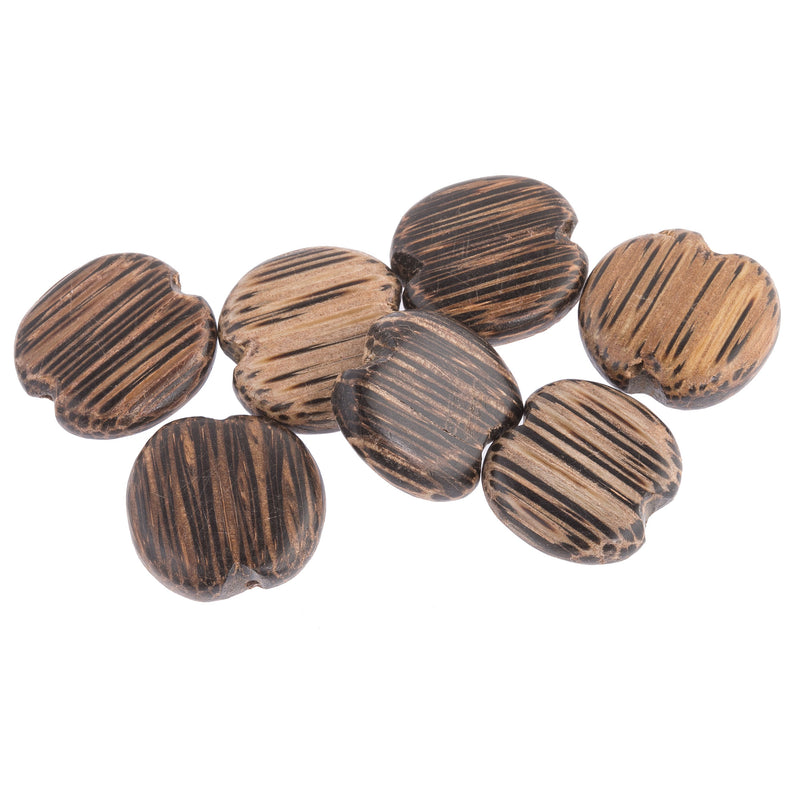 Vintage Flat Palmwood Disks. 19x4mm. Pkg of 10. b7-wo244