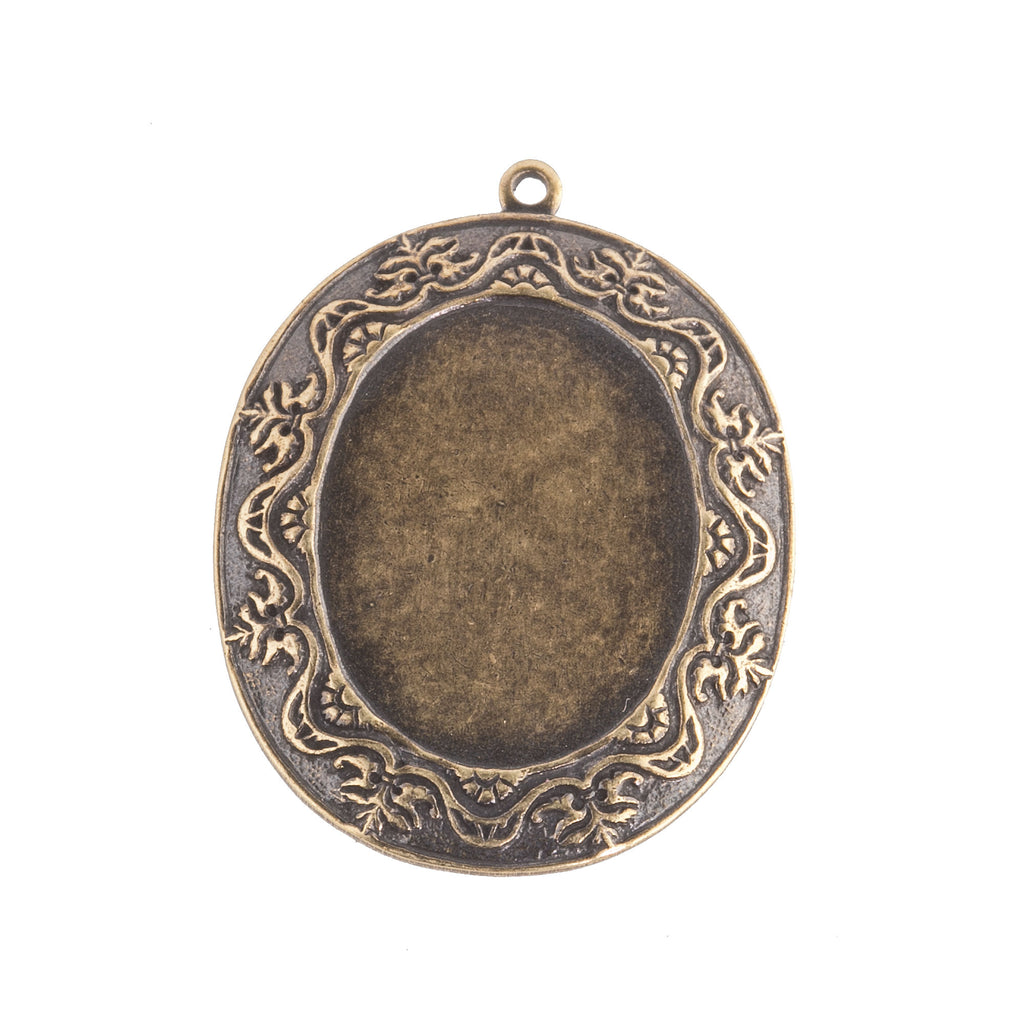 Ornate Victorian-Style Stamped Oxidized Brass Oval Frame Pendant Setting. Sold Individually. 28x21mm. b9-0594