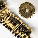 Solid brass flat disk beads. 2x10mm. Pkg of 20. b18-0131-2(e)