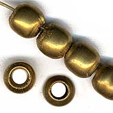 Old African brass hand made pony beads. 8mm. Pkg of 6. b18-0124(e)