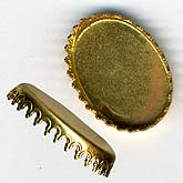 b9-0853-Vintage brass pronged setting for 14x19mm cabochon. Pkg of 4