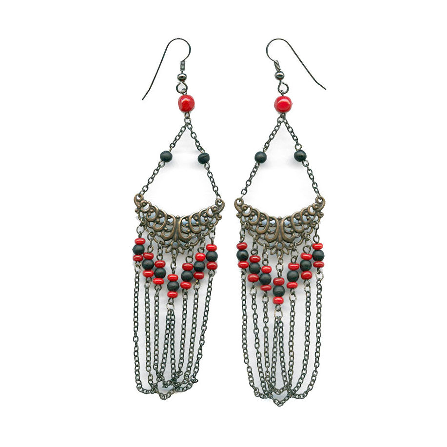 e1a8bc501 Art Deco style brass filigree, chain and glass bead earrings. ervn926 –  Earthly Adornments