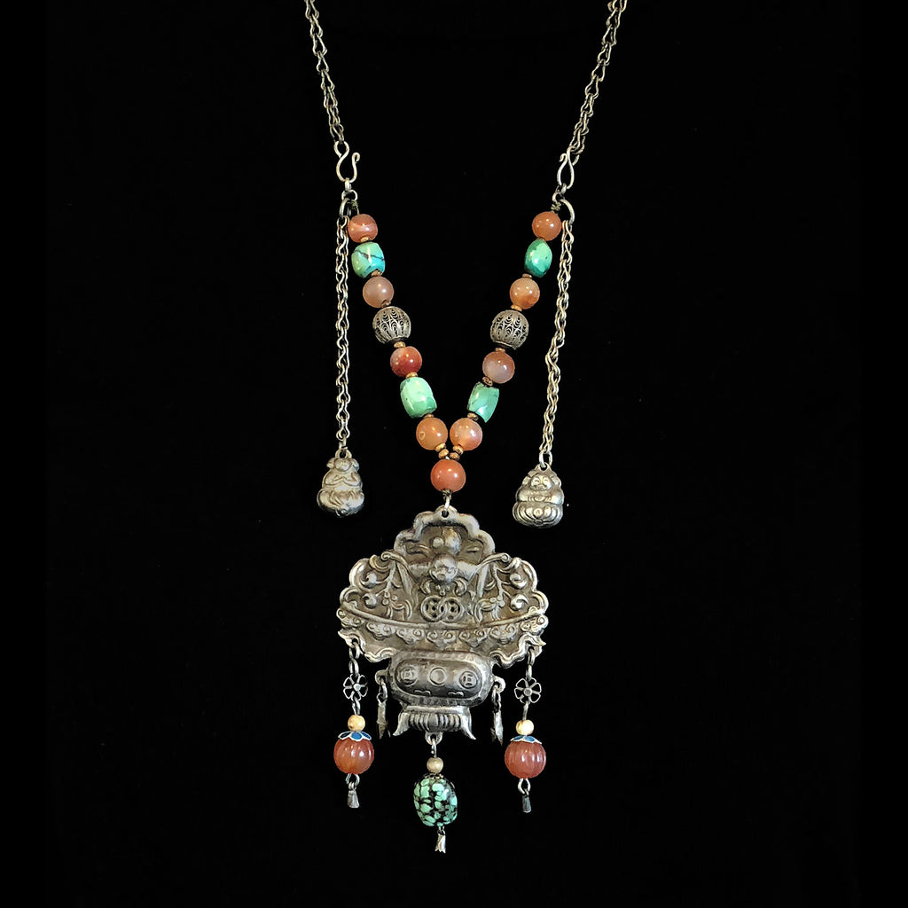 Antique Chinese Qing Dynasty Abundance Basket amulet necklace with silver, turquoise and carnelian beads. nlor826LC