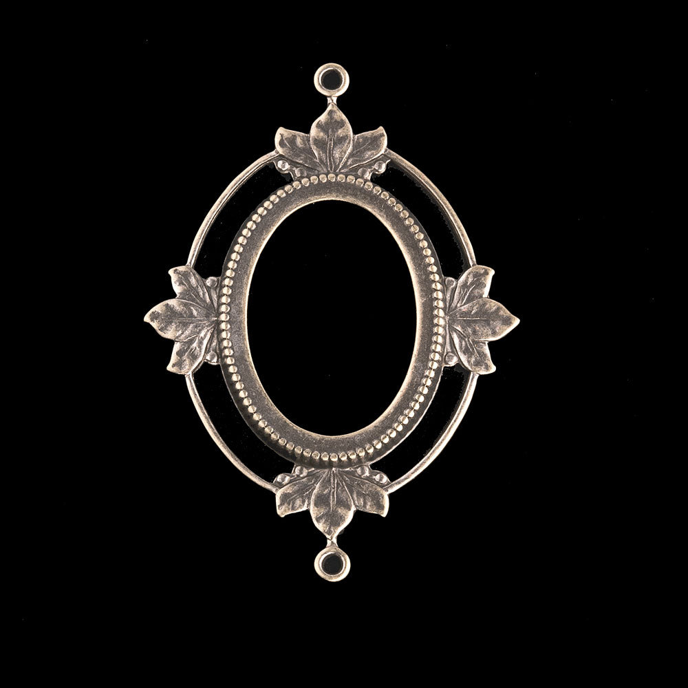 Oxidized brass 2-ring open back oval frame pendant setting for 25x19mm cabochon. b9-0804-8