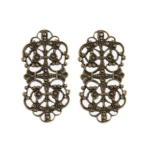Vintage oxidized stamped brass filigree ornamental component. 35x18mm Pkg. of 2. b9-0877(e)