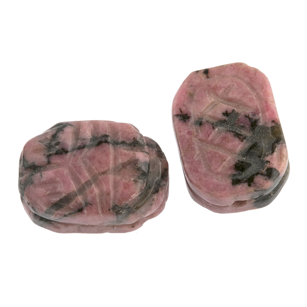Carved Rhodonite scarab beads, carved both sides. 18x13mm, package of 2. b4-rho427