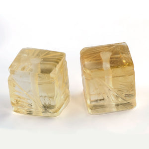 Matched pair of carved natural yellow citrine cubes 6mm.  b4-cit228