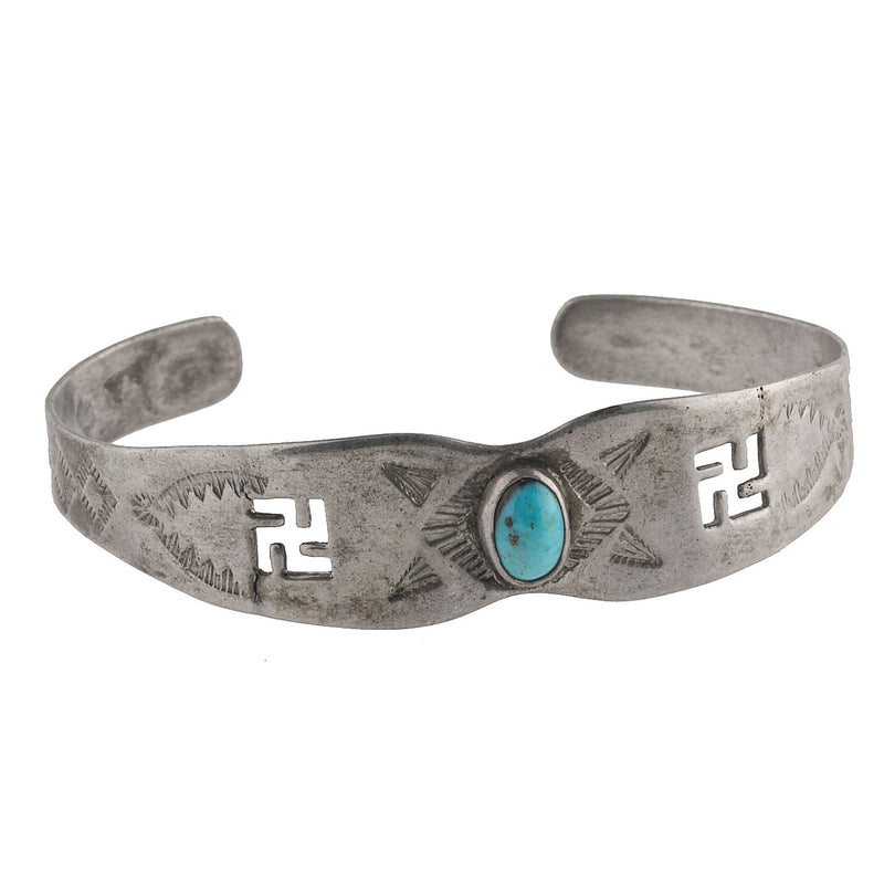 Vintage 1930s-1940s Fred Harvey style sterling silver and turquoise stamped cuff bracelet.brvs962cs