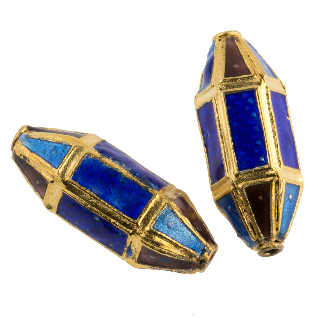 Enamel and gold plated panel lantern bead. 25mm. Pkg of 1. b18-0167b(e)