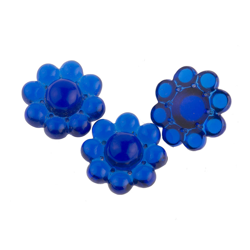1920s Gablonz rare translucent sapphire molded glass floral stone or pendant 12mm pkg of 2. b11-bl-0982-1
