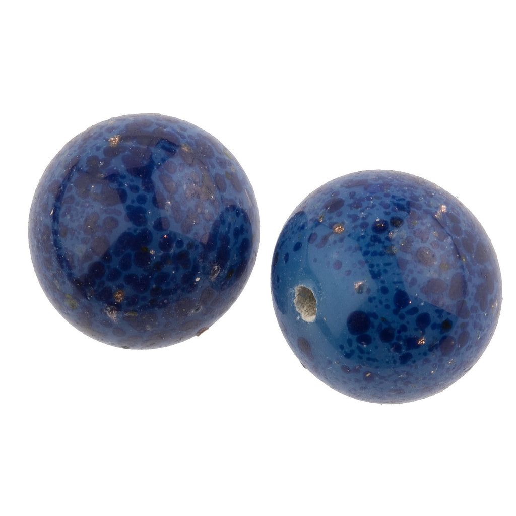 Vintage Japanese 1 hole faux lapis bead. 10mm. Pkg of 2 . b11-bl-1068-2