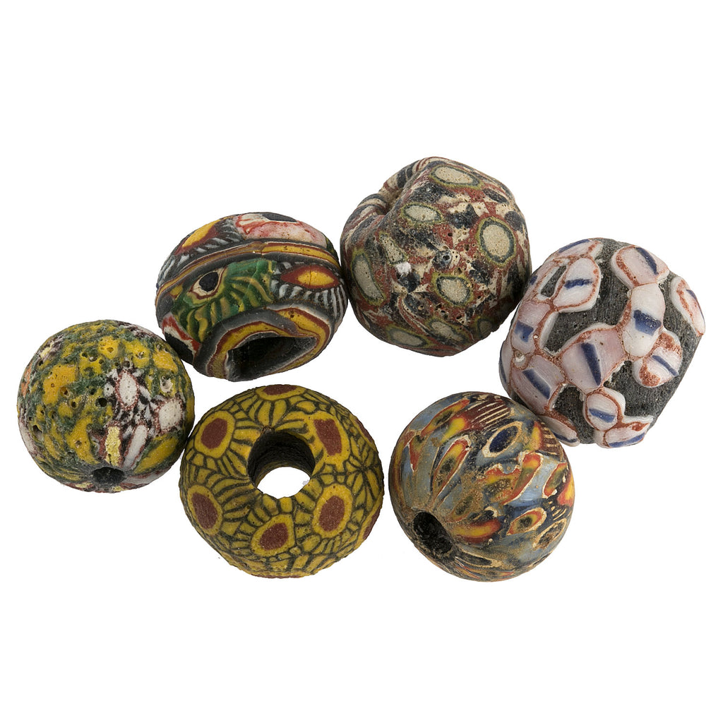 Ancient Indonesian Jatim bead replicas. one of a kind group of 6. b1-905