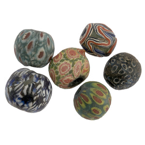 Ancient Indonesian Jatim bead replicas. one of a kind group of 6. b1-906