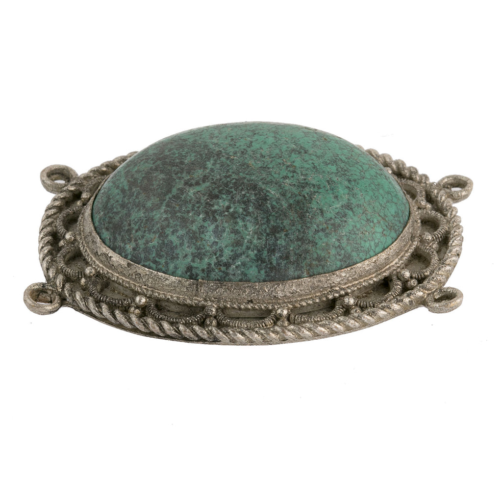Vintage Chinese silver on copper 4-ring oval pendant with large turquoise cabochon, 43 x 53 mm. b18-632