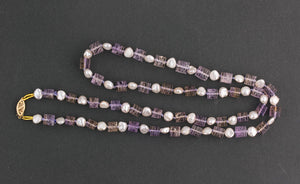 Carved Ametrine cube beads with vintage Japanese freshwater Biwa pearl necklace nlbd1253