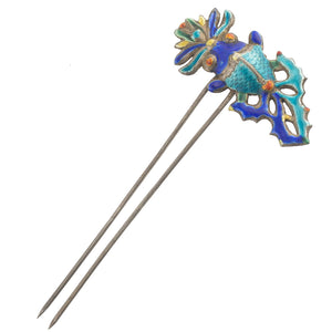 Antique Qing Dynasty coin silver and enamel double pronged hair ornament. ac-h-0160