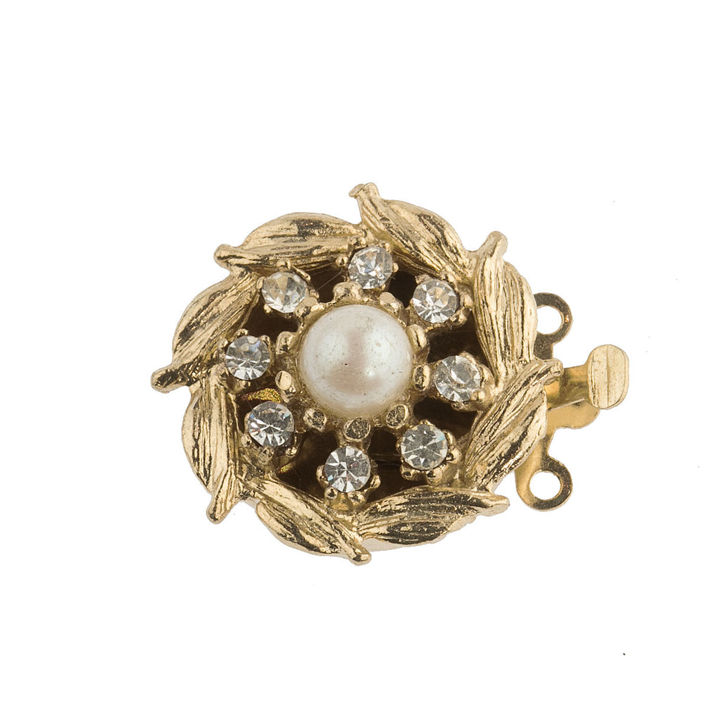 1960s vintage 2-strand fancy gold metal box clasp wtih glass pearl and crystal stones. b8-356