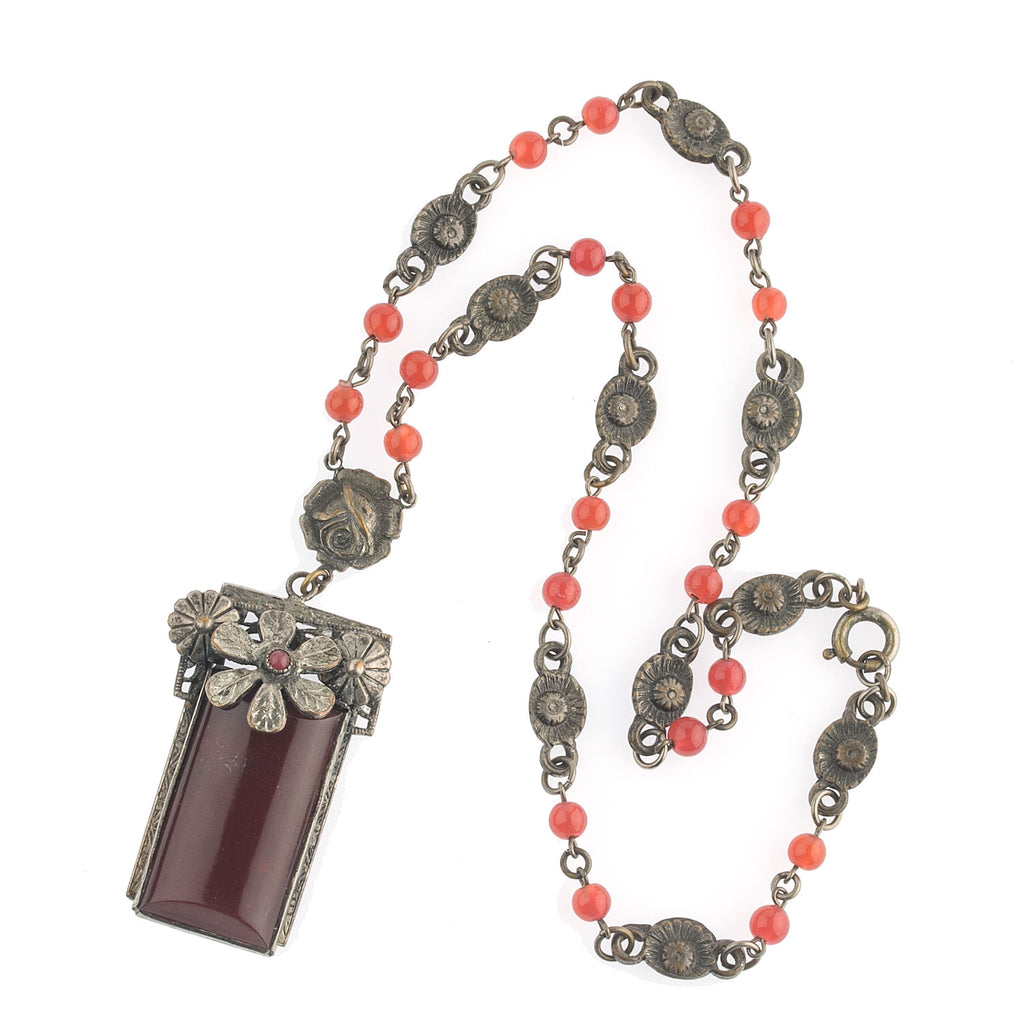 Antique Bohemian glass and silver metal lavaliere necklace c. 1915. nlbg2145