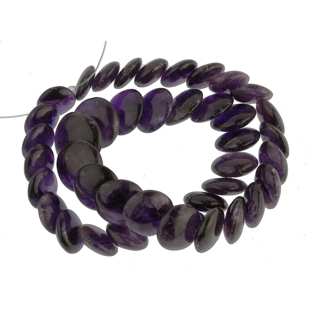 Vintage natural  amethyst puffy overlapping graduated disk strand 17.5  inches. b4-ame218