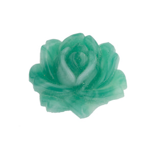 Vintage molded glass rose in teal green. 28x24mm. Pkg of 1. b5-509e