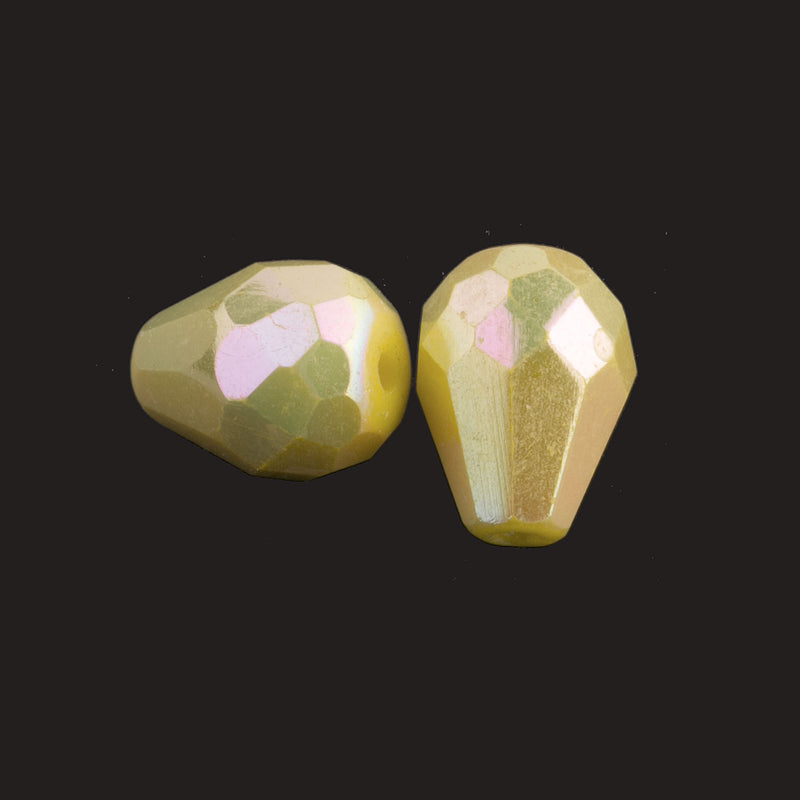 Vintage faceted AB teardrop, Germany. 13x9mm. Pkg of 2. b11-yo-0864-2
