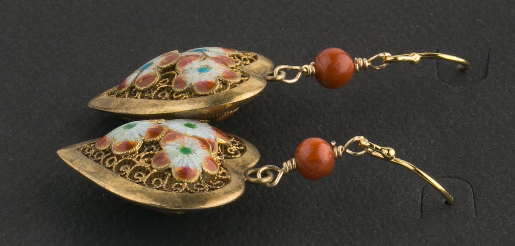 Vintage Chinese export earrings silver vermeil puffy filigree heart with enamel flowers. eror485