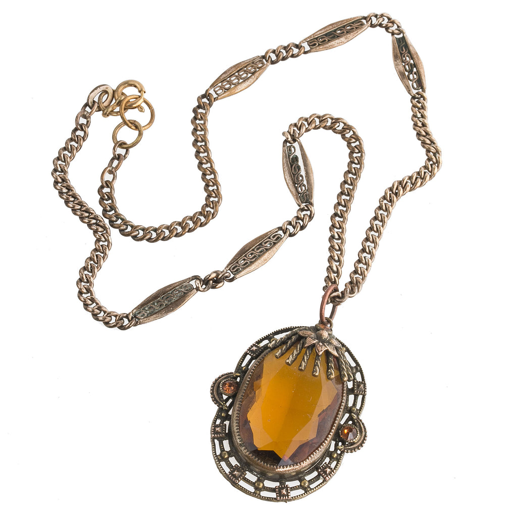 Antique Bohemian Czech fancy brass and faceted amber glass pendant necklace. nlbg2152
