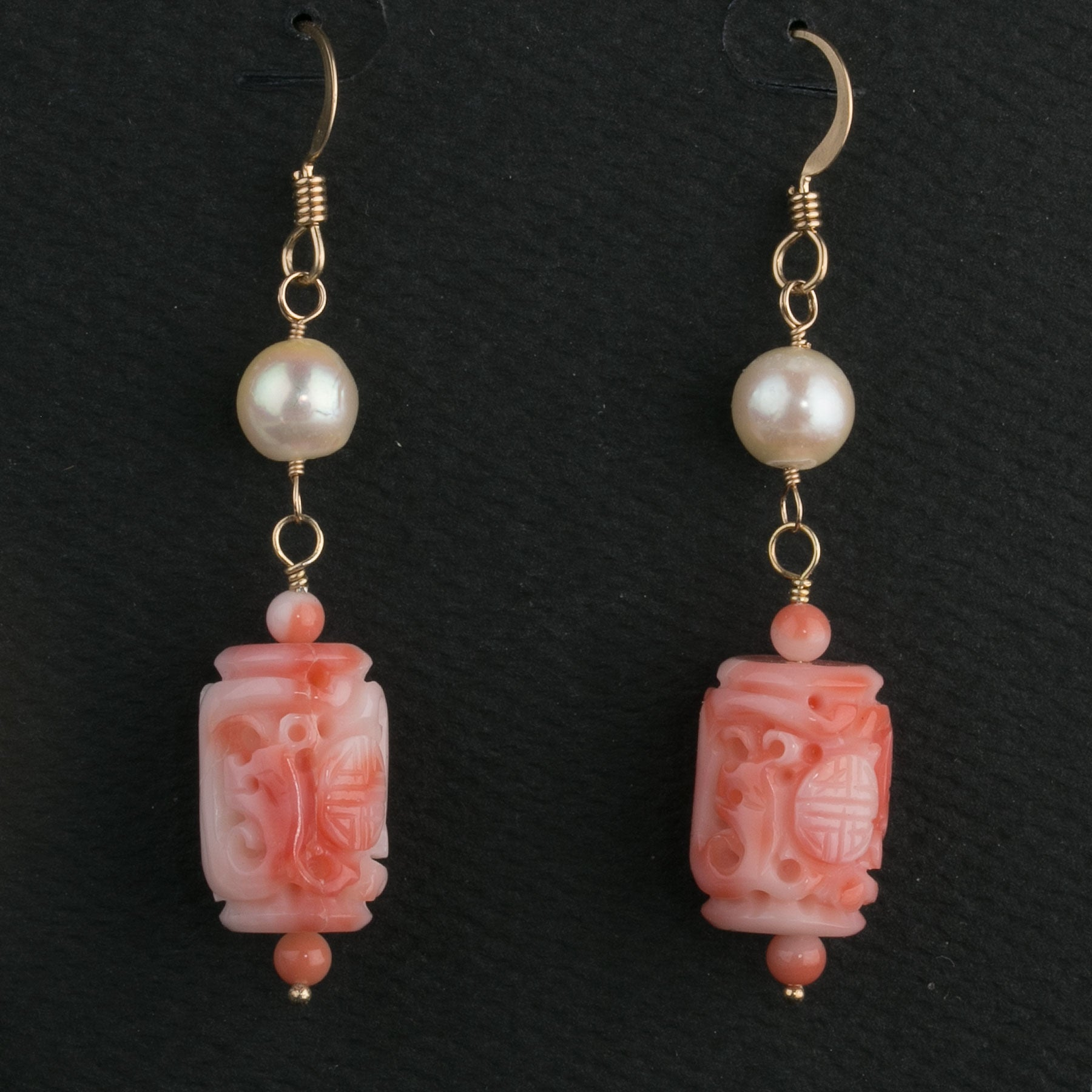 bf4e5cc3f angelskin coral cylinder and vintage Japanese Akoya pearl earrings –  Earthly Adornments