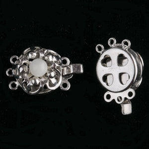 Vintage sterling silver 1 to 3 ring flower box clasp with mother of pearl stone.  b8-369