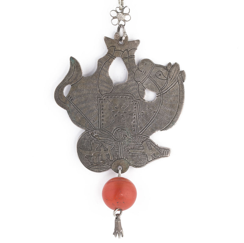 Antique Chinese Qing dynasty coin silver donkey amulet. with carnelian bead. pdvs678