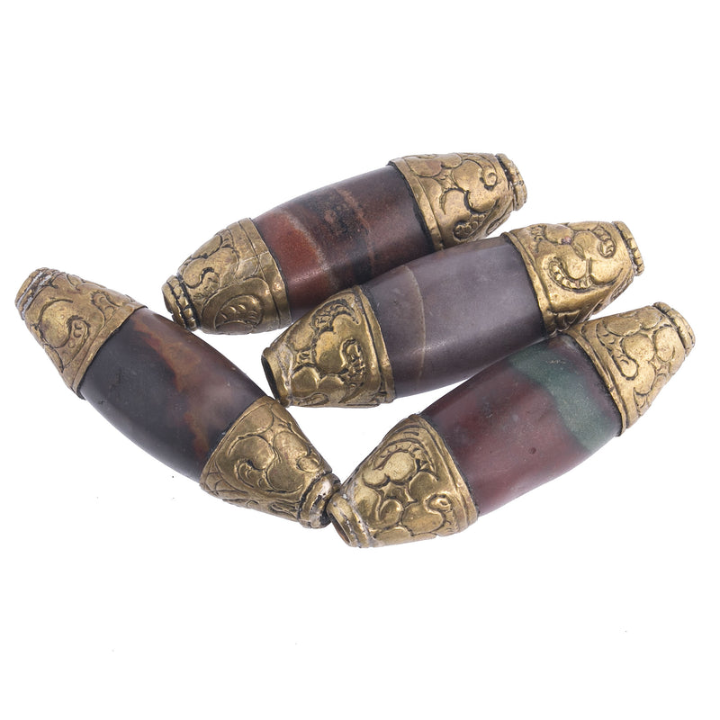 Old Tibetan or Nepal repousse brass capped agate beads.39-43mm. 1 pc.  B4-aga257