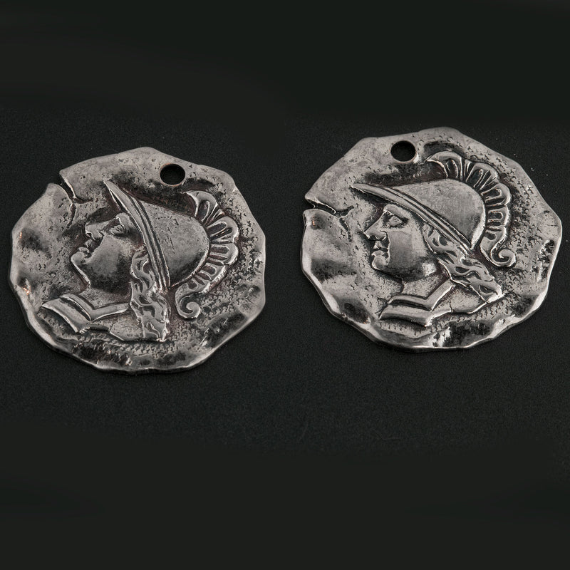 Vintage Stamped Ancient Warrior Coin Charms. Oxidized Silver Metal. Single hole. 21mm. Pkg. of 4. b9-1078