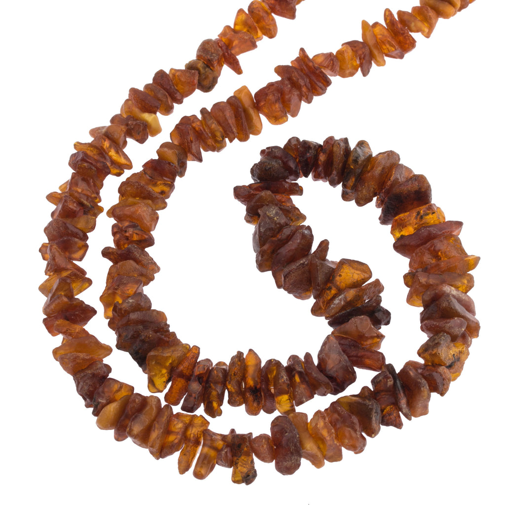 "Genuine vintage graduated 26"" strand of Baltic Amber nugget beads in a cognac color. b4-amb099"