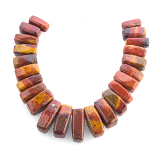 Strand of vintage high polish fancy jasper rectangular top side-drilled graduated beads. b4-jas276