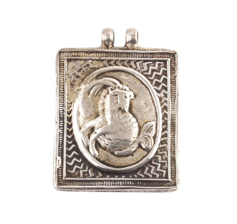 India vintage Capricornus hollow coin silver box style pendant.  38x33x6mm.  b18651cs