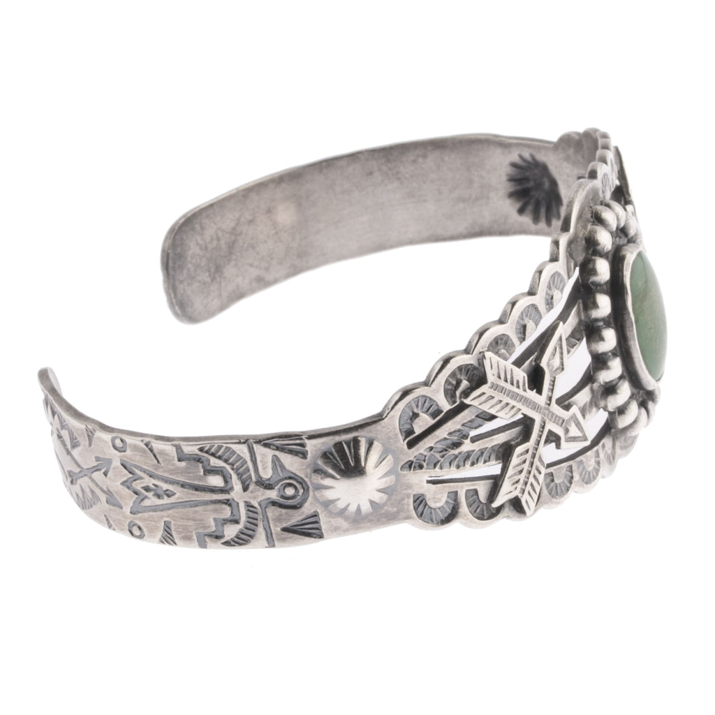 Vintage 1930's-1940's Fred Harvey style Navajo sterling silver and turquoise cuff bracelet. brvs980cs
