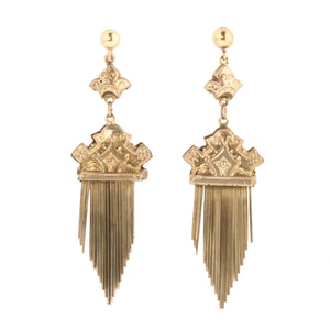 Antique Victorian fancy gold filled tassel earrings, ervc674