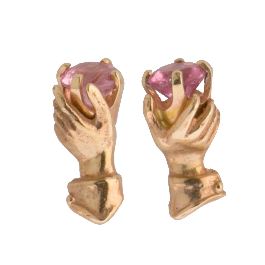 14k yellow gold hand grasps a pink tourmaline stone.  Victorian style stud earrings. erfn121cs