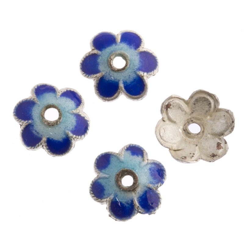 Enamel 8mm bead caps. Pkg. of 4. b9-0550