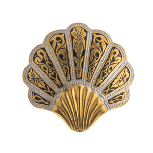 Vintage Damascene and enamel seashell brooch pin. Spain.  pnvn828