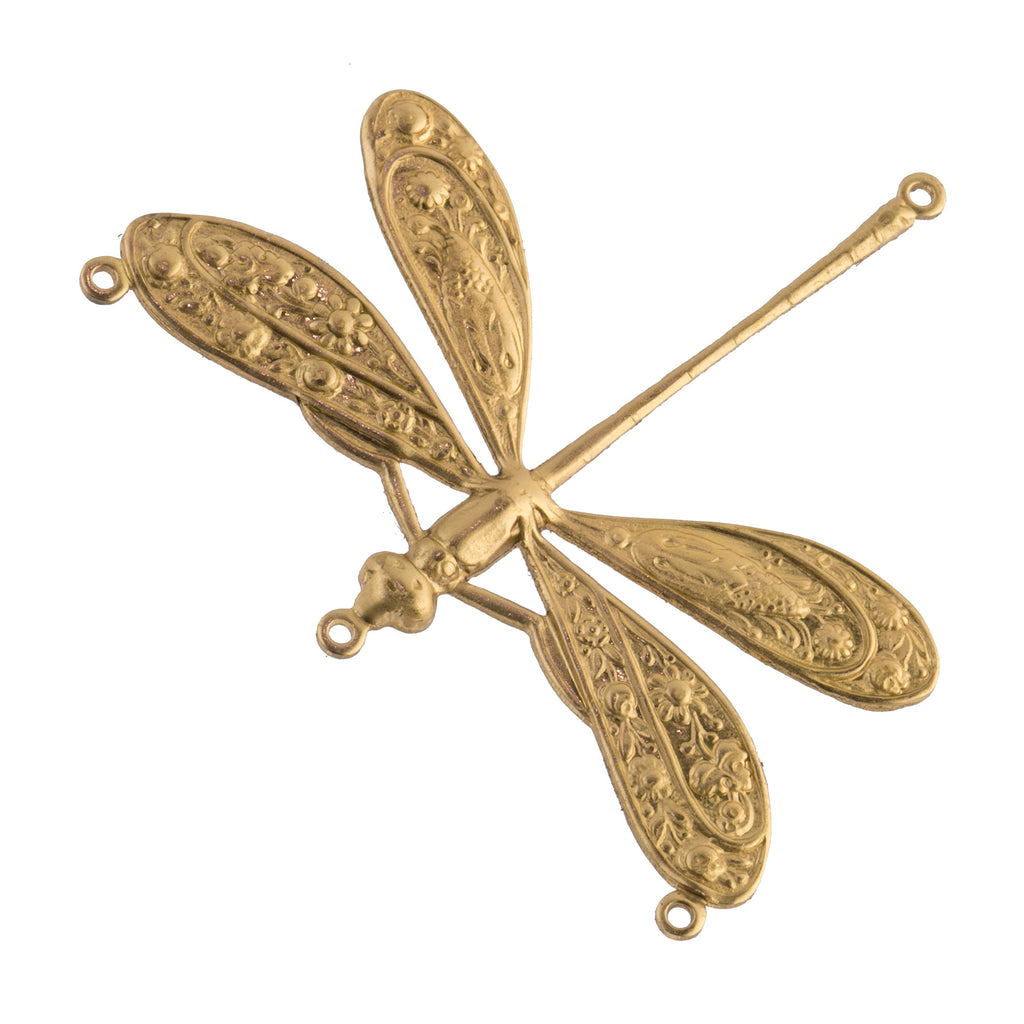 Ornate Dragonfly Stamping in Solid Brass. 3 rings.  44x50mm. Sold Individually. b9-0620