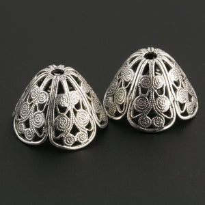 Sterling Silver Plated Brass Filigree Bead Cap. 10x17mm. Package of 2. B9-0480