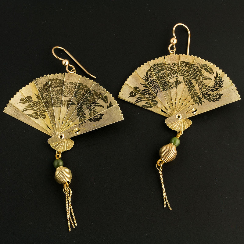 Vintage gold metal Asian miniature folding fan earrings with jade bead. ervn917