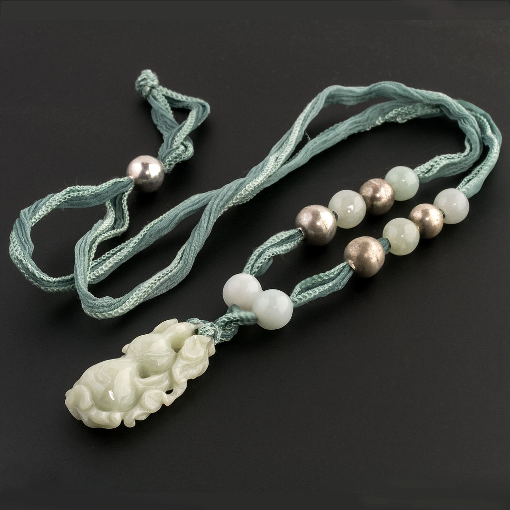 Vintage Burmese jadeite deep carved and pierced gourd and foliage pendant, strung on hand dyed silk with jade and silver beads- nlja907