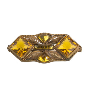 Vintage 1920s faceted amber glass and brass filigree brooch.  Czechoslovakia  pnbg1016