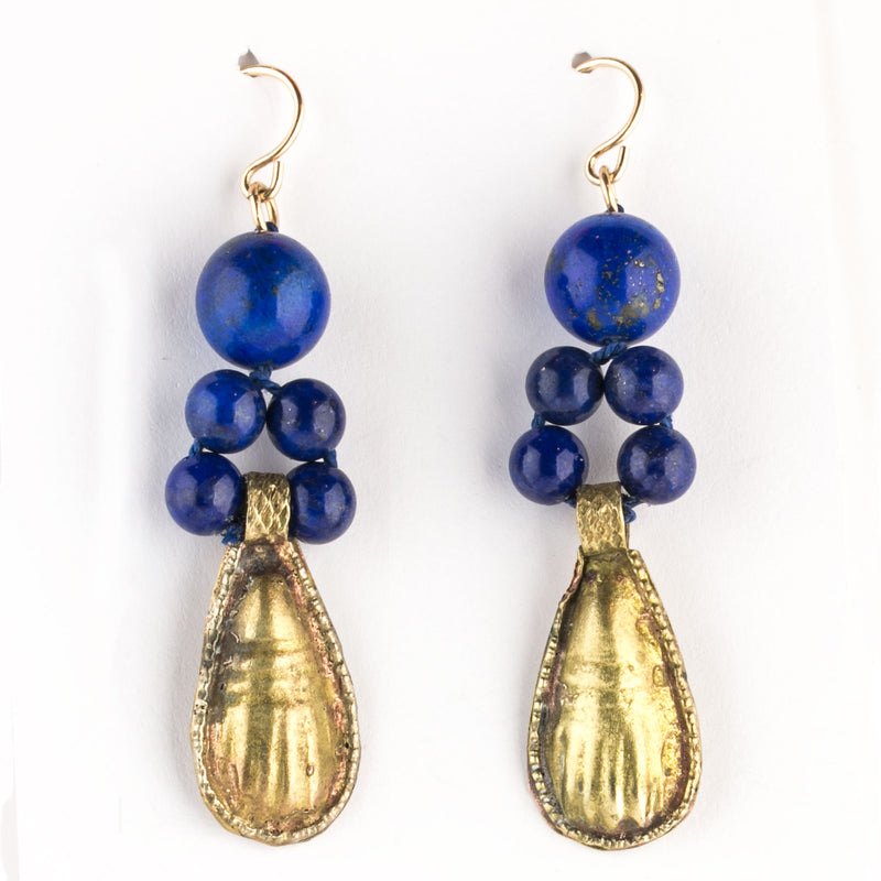 Fine Lapis Lazuli bead and gold wash Ethiopian amulet earrings. ervn954