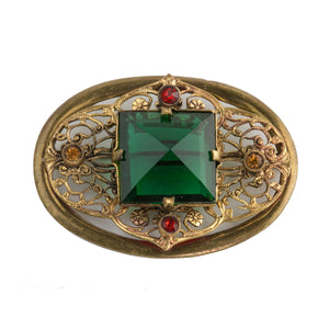 Vintage Victorian revival brass filigree and multi color glass stone brooch. pnbg1014